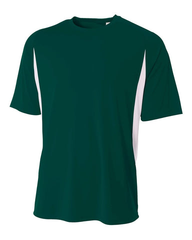 A4 N3181 Cooling Performance Color Blocked Short Sleeve Crew - Forest White