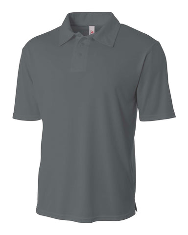 A4 N3261 Solid Interlock Performance Polo - Graphite