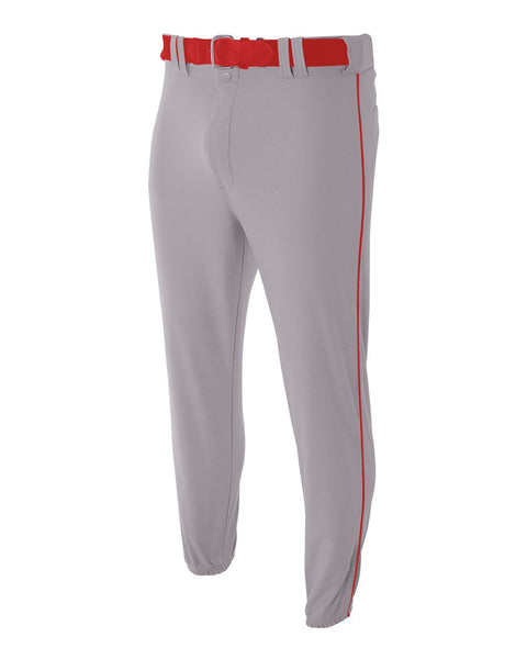A4 NB6178 Youth Pro Style Elastic Bottom Baseball Pant - Gray Scarlet