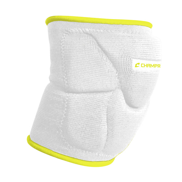 Champro A2001 Pro-Plus Low Profile Knee Pad Pair - White Optic Yellow