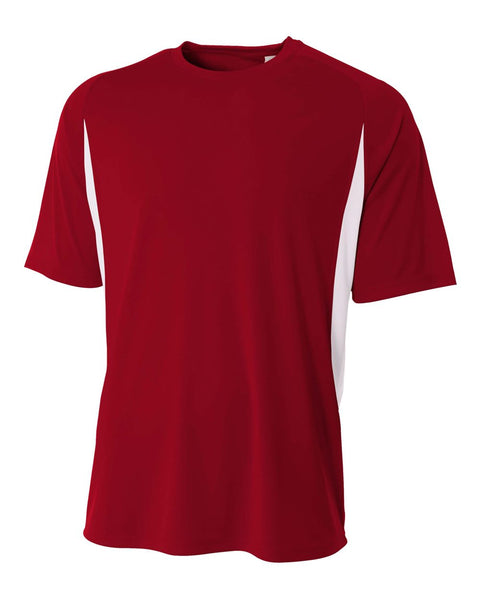 A4 N3181 Cooling Performance Color Blocked Short Sleeve Crew - Cardinal White