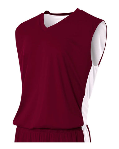 A4 N2320 Reversible Moisture Management Muscle - Maroon White