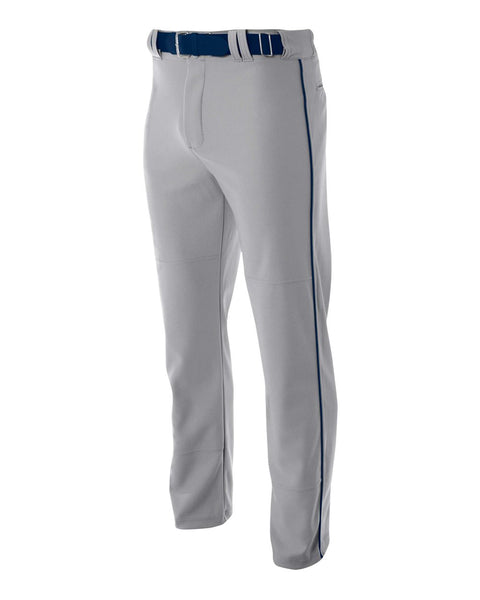 A4 N6162 Pro Style Open Bottom Baggy Cut Baseball Pant - Gray Navy