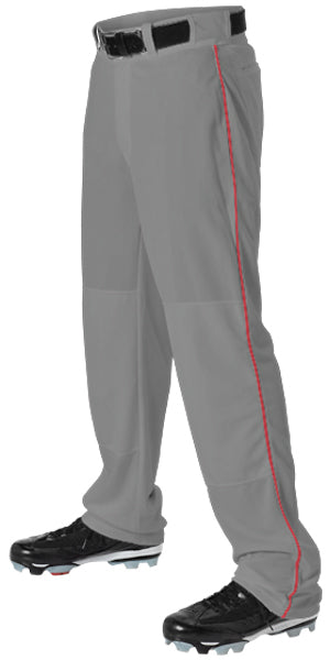 Alleson 605WLB Adult Baseball Pant with Braid - Charcoal Scarlet