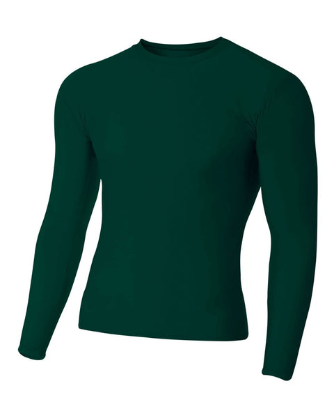 A4 N3133 Long Sleeve Compression Crew - Forest
