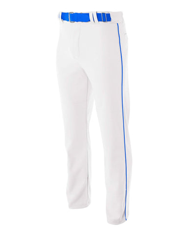 A4 N6162 Pro Style Open Bottom Baggy Cut Baseball Pant - White Royal