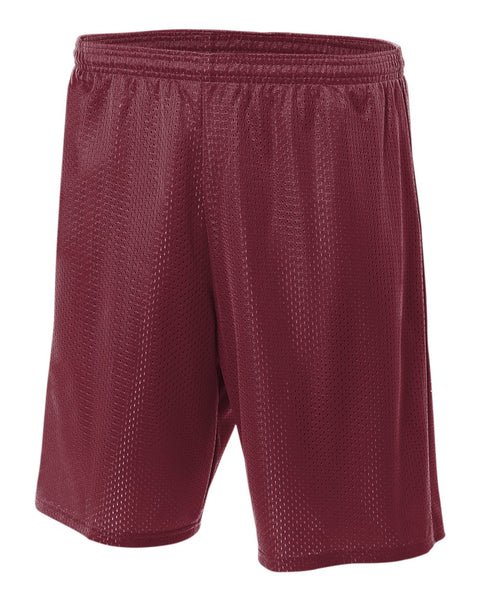 "A4 N5296 9"" Lined Tricot Mesh Short - Cardinal"
