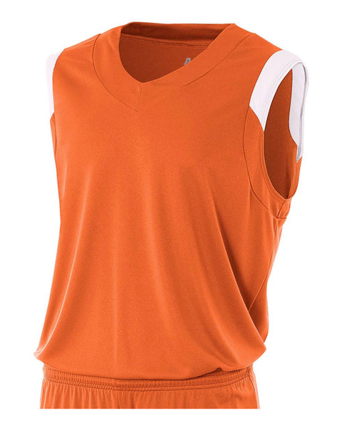 A4 N2340 Moisture Management V-neck Muscle - Orange White