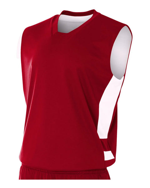 A4 NB2349 Youth Reversible Speedway Muscle Tee - Cardinal White