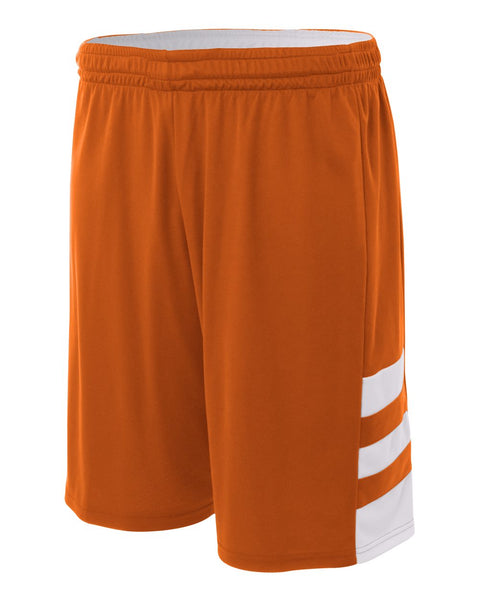 "A4 N5334 10"" Reversible Speedway Short - Orange White"