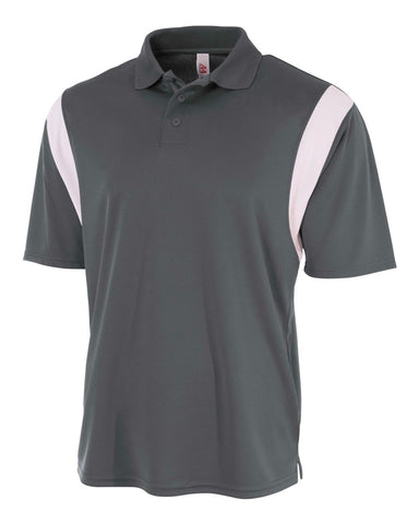 A4 N3266 Color Blocked Performance Polo with Knit Collar - Graphite White