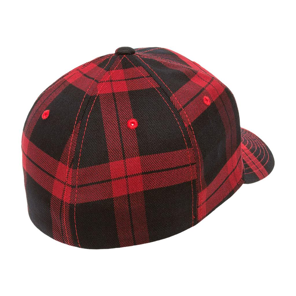 Flexfit 6197 Tartan Plaid Cap - Black Red