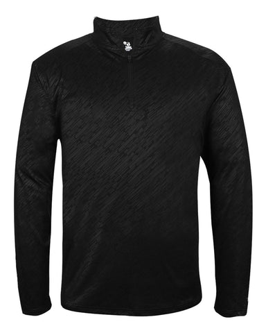 Badger 4134 Line Embossed 1/4 Zip - Black Line Embossed