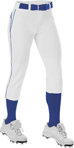 Alleson 625PBW Women's Belted Fastpitch Pant - White Royal