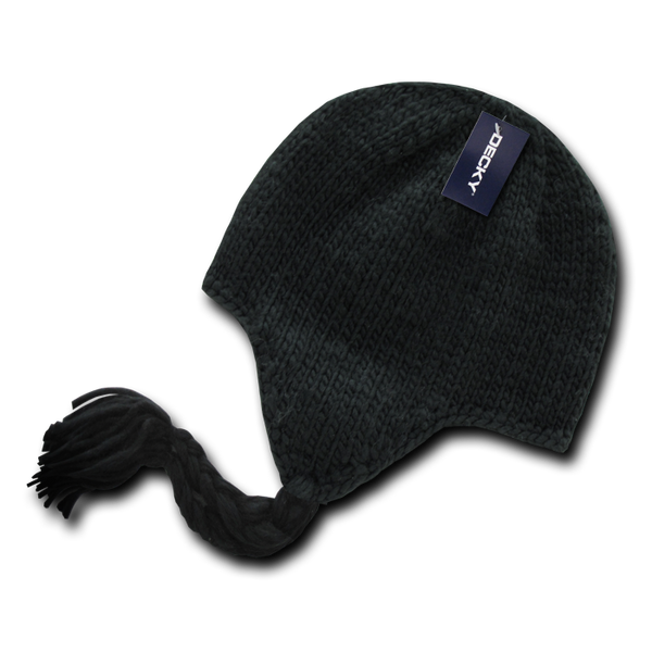 Decky 633 Solid Peruvian Beanie - Black - HIT A Double