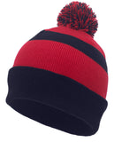 Pacific Headwear 641K Pom-Pom Cuff Beanie - Navy Red Navy - HIT A Double