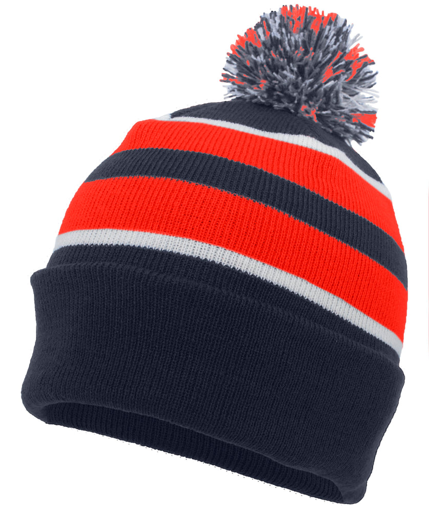 Pacific Headwear 641K Pom-Pom Cuff Beanie - Navy Red White - HIT A Double