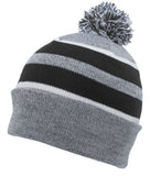 Pacific Headwear 641K Pom-Pom Cuff Beanie - Heather Gray Black White - HIT A Double