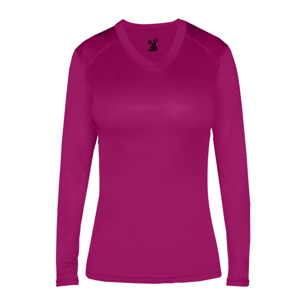Badger 6464 Ultimate Softlock Fitted Ladies L/s Tee - Hot Pink
