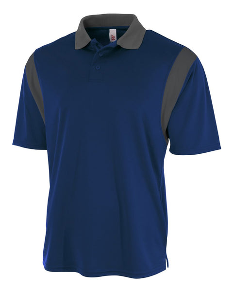 A4 N3266 Color Blocked Performance Polo with Knit Collar - Navy Graphite