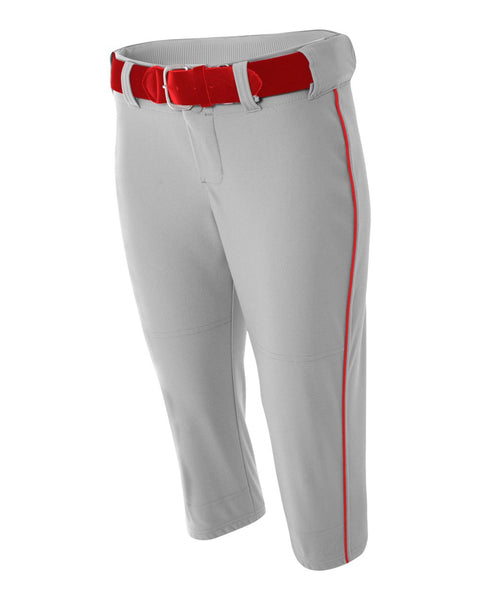 A4 NW6188 Womens Softball Pant with Cording - Gray Scarlet