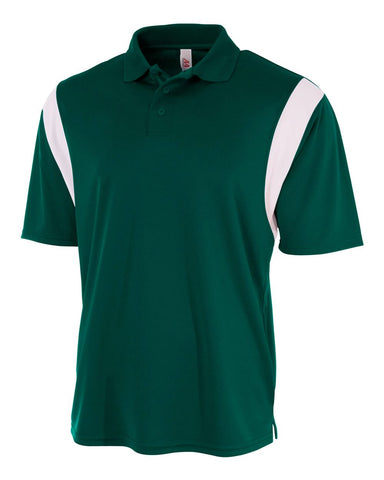A4 N3266 Color Blocked Performance Polo with Knit Collar - Forest White