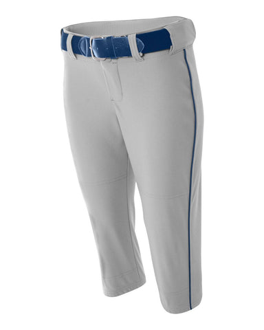 A4 NW6188 Womens Softball Pant with Cording - Gray Navy