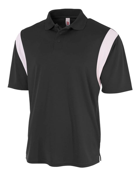 A4 N3266 Color Blocked Performance Polo with Knit Collar - Black White
