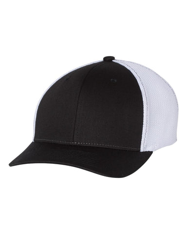 Richardson 110 Fitted Trucker with R-Flex Cap - Black White