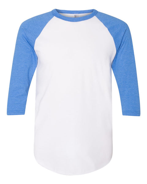 American Apparel BB453W Poly-Cotton 3/4-Sleeve Raglan T-Shirt - White/Heather Lake Blue - HIT A Double