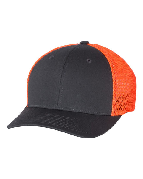 Richardson 110 Fitted Trucker with R-Flex Cap - Charcoal Neon Orange