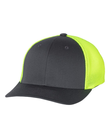 Richardson 110 Fitted Trucker with R-Flex Cap - Charcoal Neon Yellow