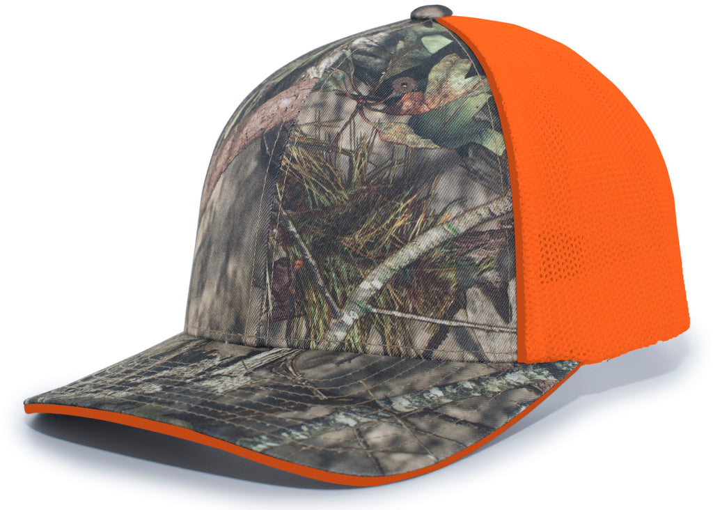 Pacific Headwear 694M Mossy Oak Trucker Mesh Flexfit Cap - Break-Up Country Orange