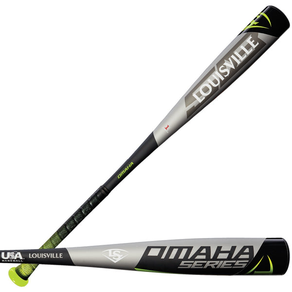 "Louisville Slugger 2018 Omaha 518 (-10) USA Approved 2 5/8"" Bat - Black Gray - HIT A Double"