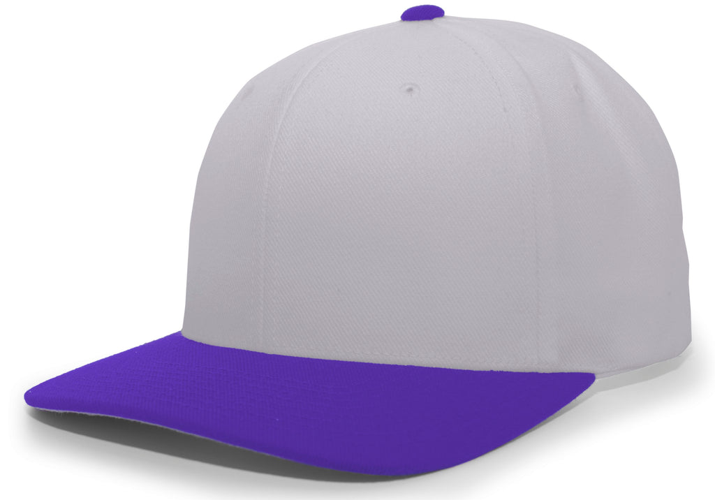Pacific Headwear 705W Pro-Wool Hook-and-Loop Cap - Silver Purple - HIT A Double