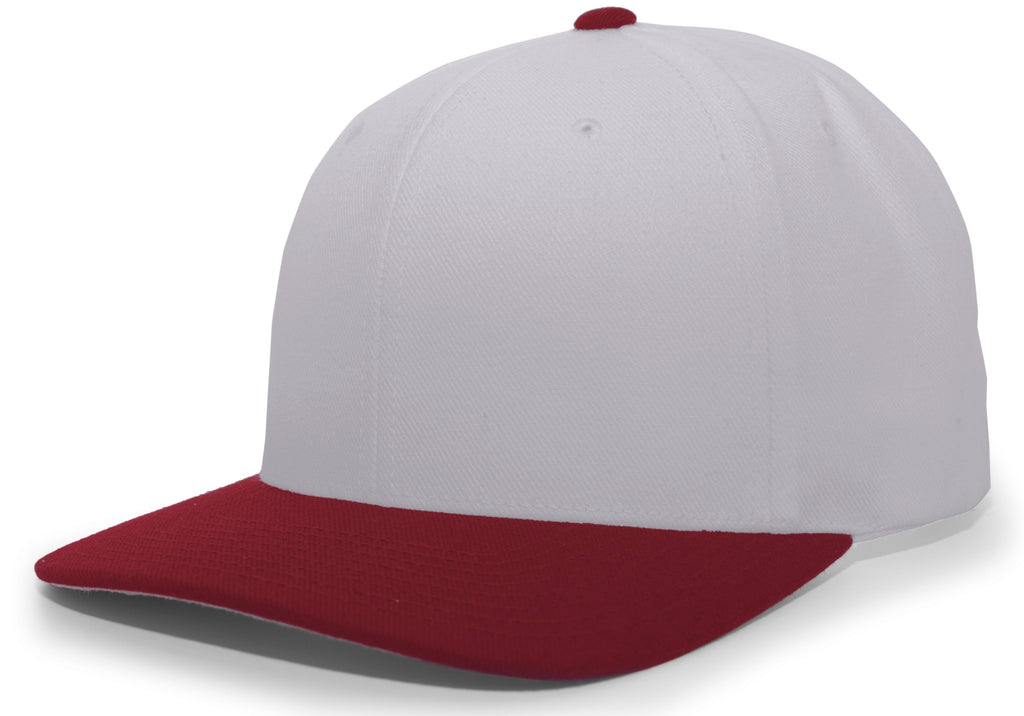 Pacific Headwear 705W Pro-Wool Hook-and-Loop Cap - Silver Maroon - HIT A Double