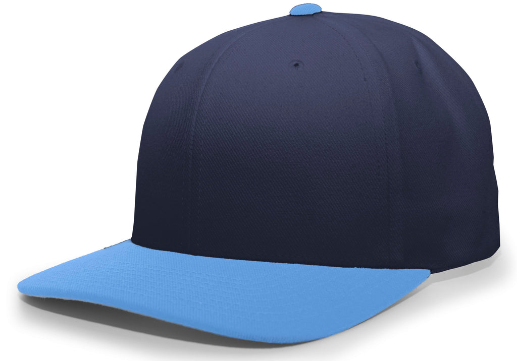Pacific Headwear 705W Pro-Wool Hook-and-Loop Cap - Navy Columbia Blue - HIT A Double