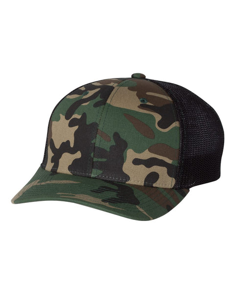 Richardson 110 Fitted Trucker with R-Flex Cap - Army Camo Black