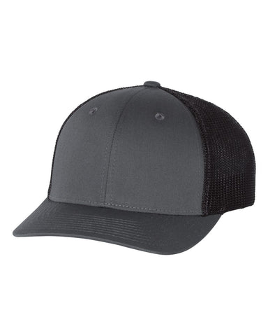 Richardson 110 Fitted Trucker with R-Flex Cap - Charcoal Black