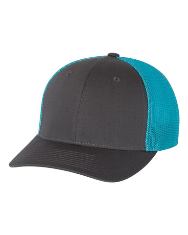 Richardson 110 Fitted Trucker with R-Flex Cap - Charcoal Neon Blue