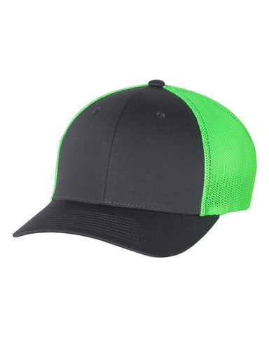 Richardson 110 Fitted Trucker with R-Flex Cap - Charcoal Neon Green