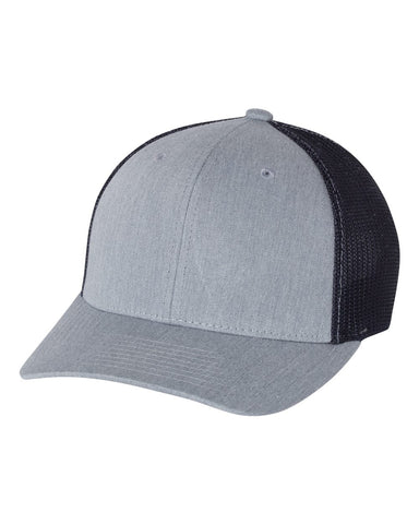 Richardson 110 Fitted Trucker with R-Flex Cap - Heather Gray Navy