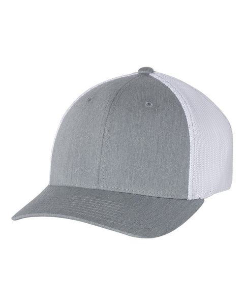 Richardson 110 Fitted Trucker with R-Flex Cap - Heather Gray White