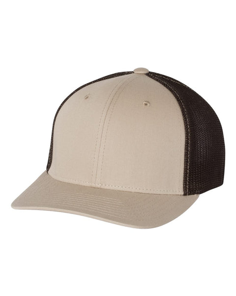 Richardson 110 Fitted Trucker with R-Flex Cap - Khaki Coffee