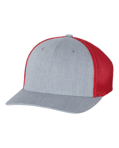 Richardson 110 Fitted Trucker with R-Flex Cap - Heather Gray Red