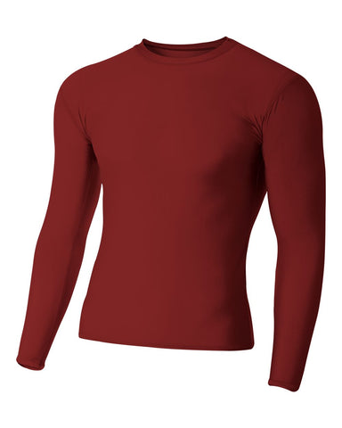 A4 N3133 Long Sleeve Compression Crew - Cardinal
