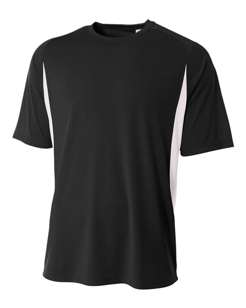 A4 NB3181 Youth Cooling Performance Color Block Short Sleeve Crew - Black White