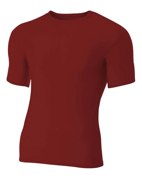 A4 N3130 Short Sleeve Compression Crew - Cardinal