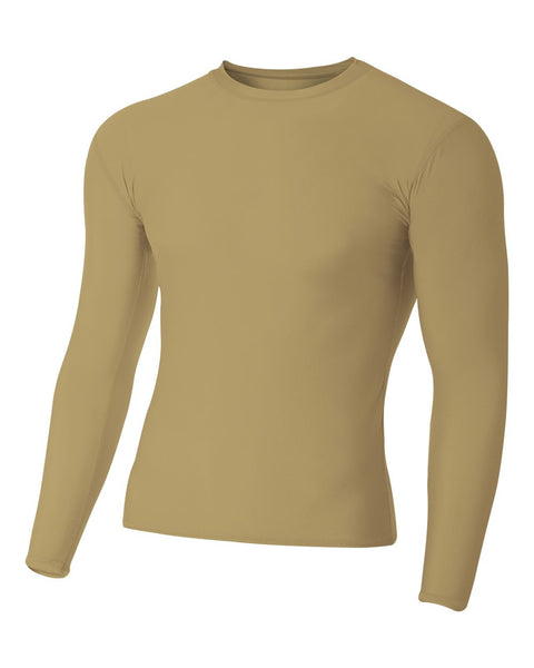 A4 N3133 Long Sleeve Compression Crew - Vegas Gold