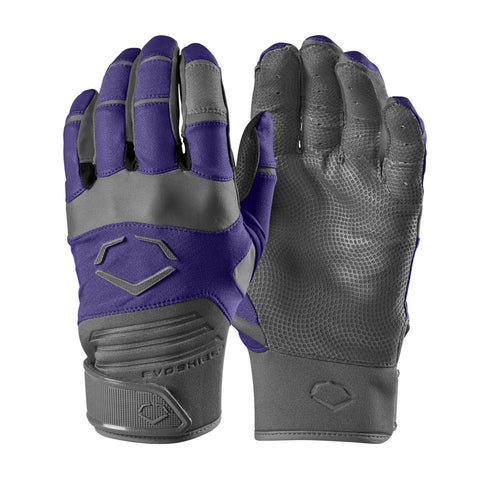 EvoShield Youth Evo Aggressor Batting Gloves - Purple - Batting Gloves - Hit A Double